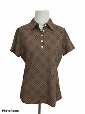 Nike Golf Dri Fit Womens Polo Shirt Brown Geometric Short Sleeve Stretch Top S