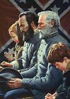Robert E. Lee & Stonewall Jackson in Church Virginia Military Civil War Postcard