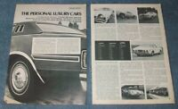1974 Vintage Domestic Luxury Car Road Test Info Article AMC Pontiac Ford Olds