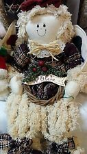 """Stuffed Christmas Angel Doll """"Noel"""" Country Style, Soft, Ivory, Mauve, Green-Tan"""