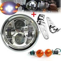 Motorcycle 6.5 inch LED Headlight Turn Signal Amber Light Brackets Kit