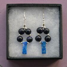 Bonito Pendientes Con Azul Heliolita Y Lapis Lapislázuli 8Gr.4.5 Cm. Largo +