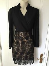 Fabulous Black Chiffon Ladies Lace Shirt Dress NWT  Size Medium