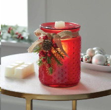 Holiday Christmas Full Size Wax Warmer Habnail - Red W/ Pine cone & pine accents