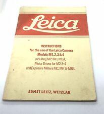 LEICA INSTRUCTIONS MODELS M1, 2, 3 & 4