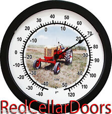 """New Vintage Yellow and Red RC Case Tractor 14"""" Round Wall Thermometer New"""