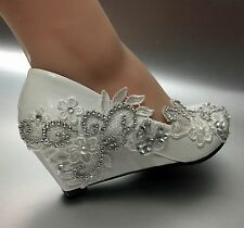 5 cm wedge white ivory lace crystal Wedding shoes Bridal high heels pumps size