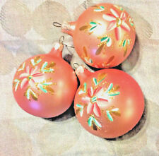 3 Vintage Pink Hand Painted Glass Ornaments, Hand Blown Beautifully Hand Painted