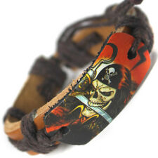 Real Leather Skull Pirate Wristband Bracelet - Pirate design