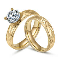 18K Gold Plated Stainless Steel Couple Rings Fashion CZ Wedding Band Women/Men