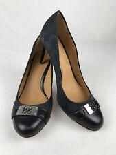 COACH Women's Black/ Silver Canvas Signature C Logo Heels/ Pumps Size 9