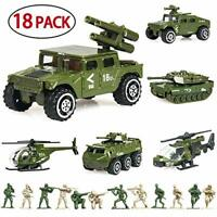 18 Pack Die-cast Military Vehicles Sets,6 Pack Assorted Alloy Metal Army Models