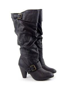 Rampage Dark Brown Slouch Buckle Womens Knee High Heel Stacked Boots