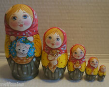 Russian Matryoshka - Wooden Nesting Dolls - 5 Pieces Unique Coloring - Set #15