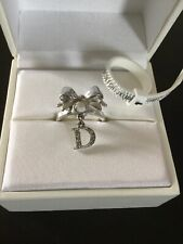 Christian Dior Silver Crystal Logo Bow Ring Size N NEW