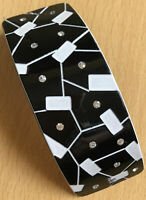 Un Grande Nero e Bianco Abstract E con Lustrini Design Clip di Capelli Barrette