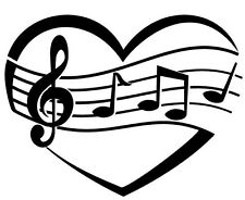 LOVE MUSIC SYMBOL  CAR DECAL STICKER