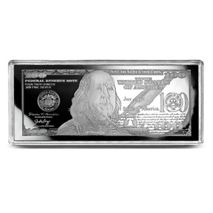 2021 $100 FRANKLIN CURRENCY NOTE ~ PROOF 4oz  UNC SILVER BAR ~  SOME FLAWS