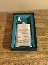 Rare Vinatage Carnoustie Golf Course Pewter Flask - Course Layout and Card