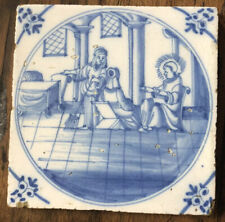 Antique Dutch Delft Blue tile figures Interior Scene