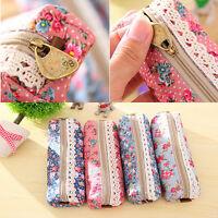Flower Floral Lace Pencil Pen Case Cosmetic Makeup Bag Zipper Pouch