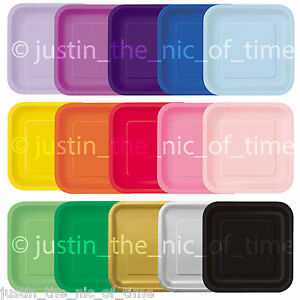 """SQUARE Paper Party Plates 7"""" & 9"""" Plain Solid Colours Tableware Events Catering"""