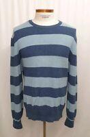 BROOKS BROTHERS Cashmere Cotton Striped Crewneck Sweater Mens XL Blue