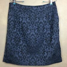 Ann Taylor Pencil Skirt Gray Floral Jacquard Pockets Lined Size 10