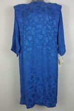 Argenti plus size 20 Blue Silk dress long sleeve hidden buttons vintage 80s NWT