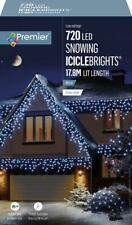 720 LED Snowing WHITE Icicles + Timer Premier Decorations Christmas Lights