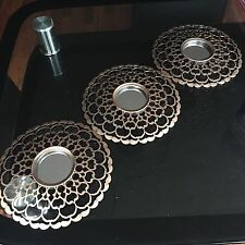 SET OF 3 Copper MOROCCAN ART DECO Round Wall MIRRORS WALL ART Moroccan MIRROR