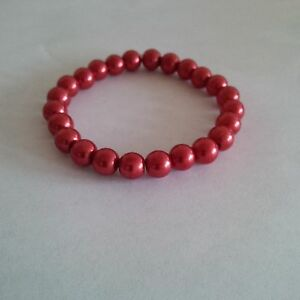 Glass Pearl Burnt Orange  Beaded Stretch Bracelet