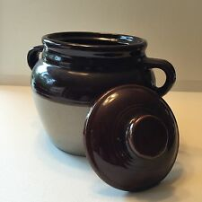 Monmouth ILL Bean Pot Two Tone Pre 1930 6 inches 2 Handled Crock Very Clean USA