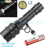 Super-bright Flashlight 20000LM USB Rechargeable Shadowhawk Tactical Torch 18650