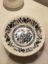 "Vintage Myott meakin Onion Blue Floral Scalloped Bowl 6 1/2"""