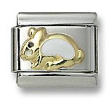 Italian Charm Bracelet Links 9mm Easter Bunny Rabbit Stainless Steel 18K Enamel