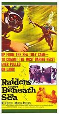 Deep Sea Scuba Diving original Large 3-sheet movie poster Raiders Beneath Sea