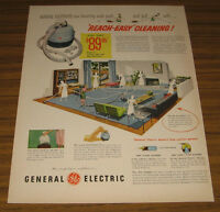 1953 Vintage Ad General Electric GE Reach Easy Cleaning Vacuum Cleaners