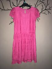 Cerise Pink Lace Effect Dress. Age 12-14 Years. NWOT