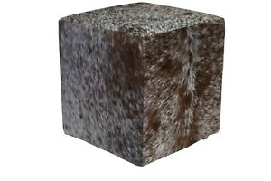 Cowhide Pouf Ottoman Cube Color Salt and Pepper Brown, TOP Quality