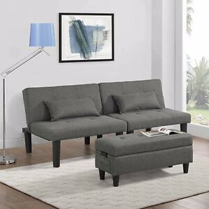 URRED Futon Sofa Bed Couch and Sleeper with Storage Ottoman Footstool