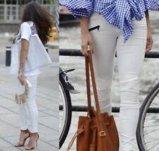 Zara Skinny Biker Jeans Size 10 Ivory Black Zip Leg Mid Rise Blogger Favourite