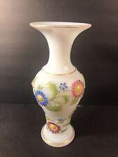 Antique French Opaline Glass Vase/ High Relief Decoration/ France C.1930/ Enamel
