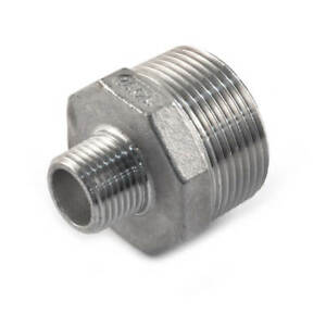 "NEW Screwed S/Steel Reducing Hexagon Nipple 1.1/2"" x 1"" UK SELLER, FREEPOST"