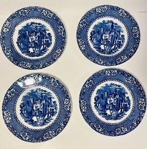 Victorian Era Flow Blue Dinner Plate with Gold Gilt Highlighting Antique Flow Blue Dinner Plate Trenle Royal Underglaze Blue Dinner Ware