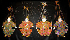 Four Vintage Hand-Carved Wooden Marionette Puppets Asian Thailand Costumes