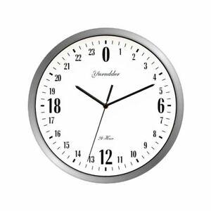 Fashion Decorative Round Wall Clock Metal Frame Modern 24 Hour Dial Design Decor