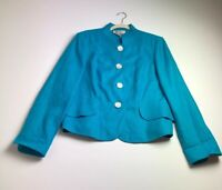 Worth Women's Long Sleeve Blazer Jacket 14 Blue Shell Buttons 100% Linen Dressy