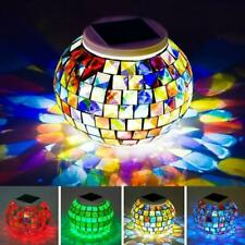 Solar Mosaic Glass Light Up LED In/Outdoor Table Lantern Ornament decoration