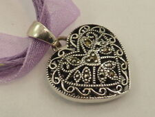 New Solid Sterling Silver & Marcasite Deco Style Filigree Heart Pendant